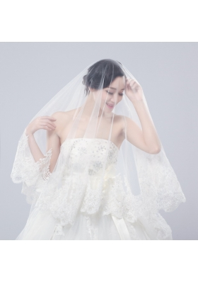 One-Tier Drop Veil Bridal Veils with Lace Appliques Edge