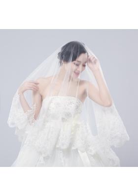One-Tier Drop Veil Bridal Veils with Lace Appliques Edge