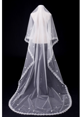 One-Tier Oval Lace Edge Bridal Veils for Wedding Party