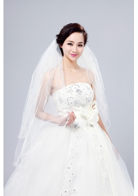 Three-Tier Finished Edge Angle Cut Bridal Veils