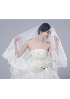 2014 One-Tier Tulle Lace Drop Veil Edge Bridal Veils