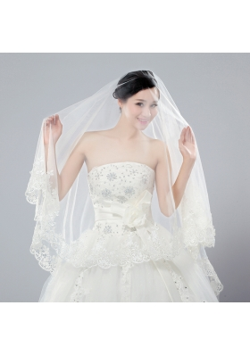 2014 One-Tier Tulle Wedding Veils with Scalloped Edge
