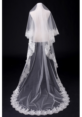 2014 Simple One-Tier Bridal Veils with Lace Appliques Edge