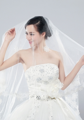 2014 Two-Tier Tulle  Elbow Veils with Lace Edge