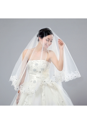 One-Tier Cut Edge White Classic Chapel Bridal Veils