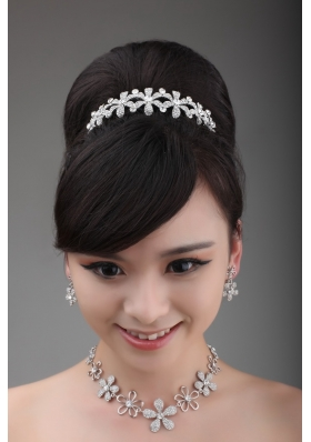 Shining Rhinestone Wedding Jewelry Set Including Crown Necklace And Earrings