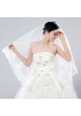 Two-Tier Tulle White Bridal Veils with Lace Edge