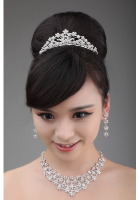 Alloy Rhinestone Intensive Flower Jewelry Set With Crown Necklace And Earrings