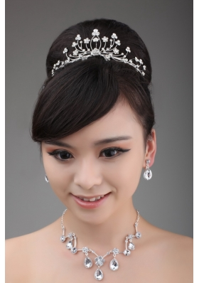 Elegant Rhinestone Wedding Jewelry Set Including Drop Necklace Earrings And Crown