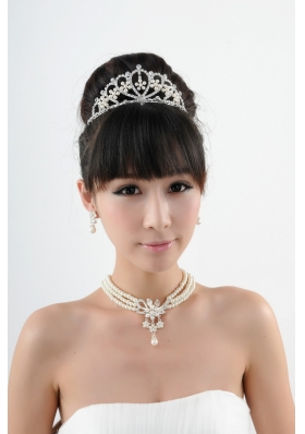 Dignified Crown with Wedding Jewelry Set Including Necklace And Earrings
