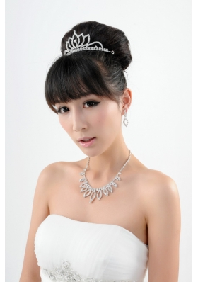 Shinning Crystal Crown with Necklace and Earings Jewelry Set
