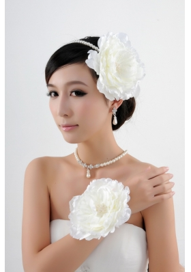 Pearls and Flowers Necklace Earrings Headpiece Jewelry Set
