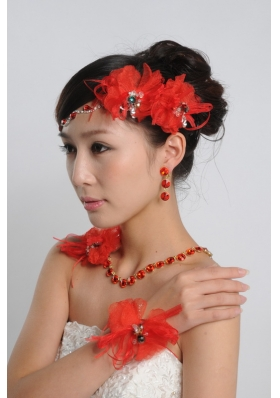 Red Alloy and Rhinestones Necklace and Earing Sets in Red and Gold