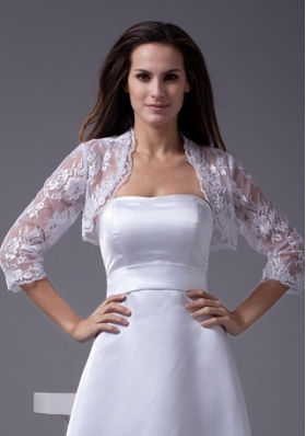 Elegant 3/4 Sleeves White Jacket With Lace