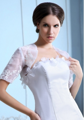 White Short Sleeves Jacket With Embroidery