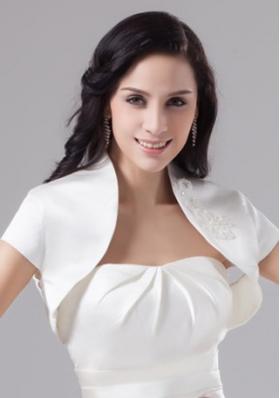 White Taffeta Short Sleeves White Jacket for Wedding Party