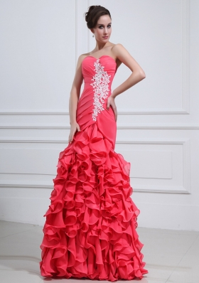 2014 Brand New Mermaid Coral Red Appliques and Ruffles Prom Dresses