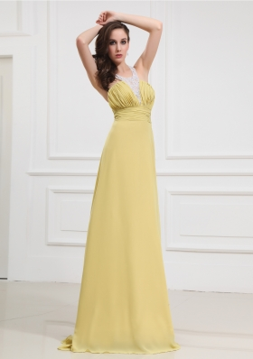 2014 Formal Empire Beading and Ruching Floor-length Halter top Prom Dress