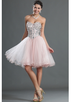 2014 Pretty Sweetheart Knee-length Prom Dresses with Beading