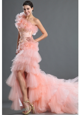 2014 The most Popular One Shoulder High-low Prom Dresses