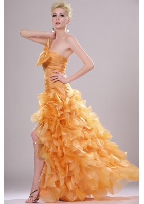 Elegant Strapless  High-low Prom Dress with Ruffles for 2014