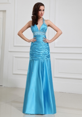 Wonderful Column Halter Top Beading and Ruching Prom Dresses for 2014