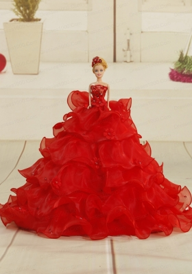 Pretty Bowknot Organza Barbie Doll Dress in Red