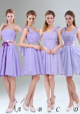 2015 Classical Lavender Princess Mini Length Bridesmaid Dress with Ruching