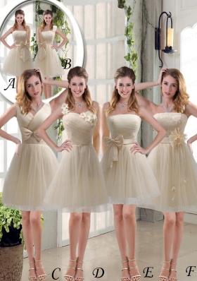 2015 Elegant Princess Mini Length Lace Bridesmaid Dress with Bowknot