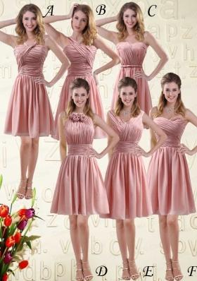 2015 Romantic Sweetheart Empire Chiffon Bridesmaid Dresses with Ruching
