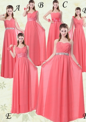 2015 Exquisite Watermelon Bridesmaid Dresses with Ruching and Beading