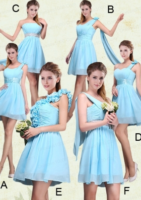 2015 Ruching Chiffon Aqua Blue Bridesmaid Dresses with Mini Length