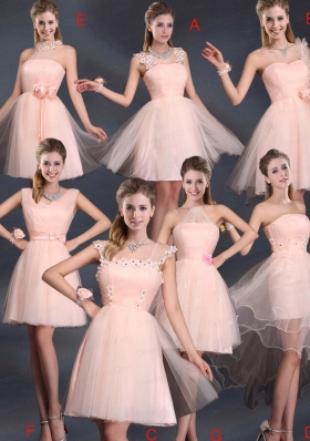 Baby Pink Mini Length 2015 The Most Popular Bridesmaid Dresses
