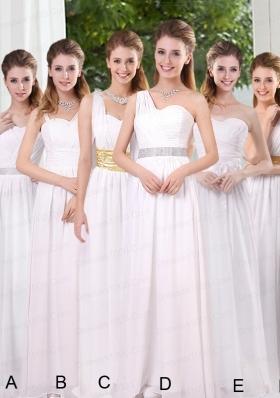 White Ruching Empire Bridesmaid Dresses for 2015