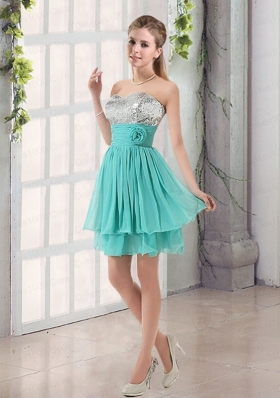 2015 Sweetheart A Line Dama Dresses with Sequins and Handle Made Flowers