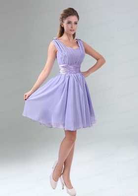Perfect Straps Lavender Ruched Mini Length Dana Dress with Waistband
