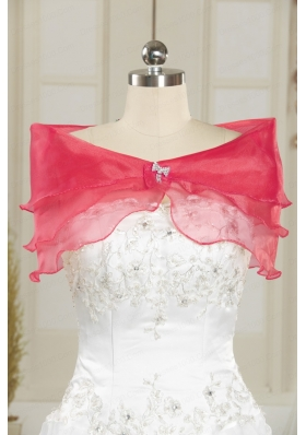 Beautiful Organza Coral Red Shawls with Beading
