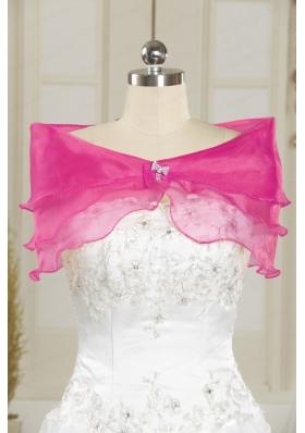 Hot Pink Pretty Organza Beading Shawls for Wedding