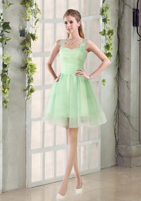 Ruching Organza A Line Straps Dama Dress with Lace Up