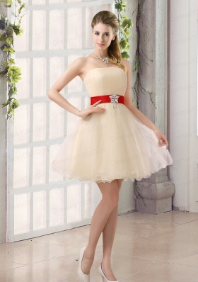 A Line Belt Strapless Dama Dress with Mini Length
