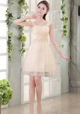 Straps A Line Champagne Dama Dress with Appliques