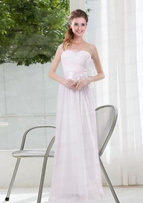 Ruching and Belt Sweetheart Empire White Dama Dresses