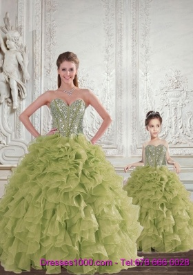 2015 Brand New Beading and Ruffles Olive Green Princesita Dress