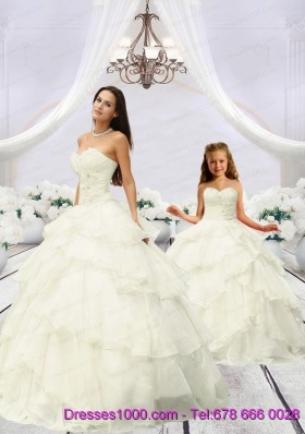 2015 Trendy Beading and Ruching Ivory Princesita Dress