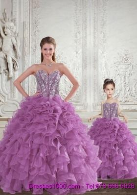 Most Popular Beading and Ruffles Princesita Dress in Light Purple