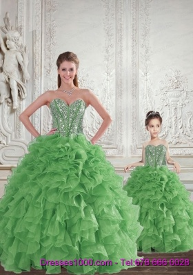 Remarkable Beading and Ruffles Green Princesita Dress for 2015 Spring