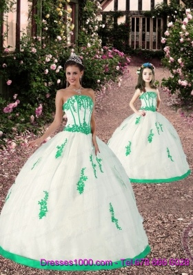 2015 Most Popular Appliques White and Green Princesita Dress