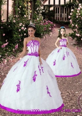 Popular Satin and Organza Appliques Princesita Dress in White and Fuchsia