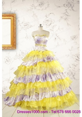 2015 Printed and Ruffles Multi-color Quinceanera Dresses