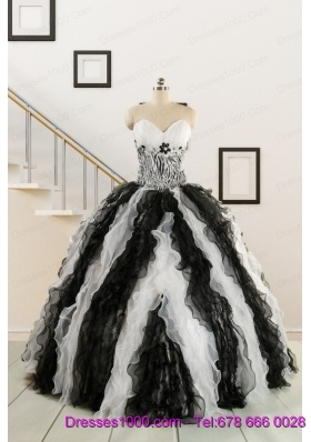 Exclusive Black and White Quinceanera Dresses with Zebra and Ruffles